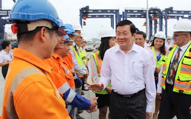 Chủ tịch nước thăm Công ty TNHH Cảng Container Quốc tế Cái Lân